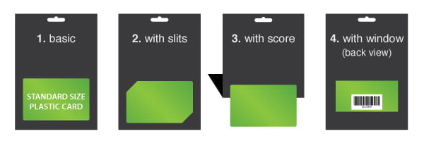 A6 Retail Card Holder - Diagram of 4 Different Setups